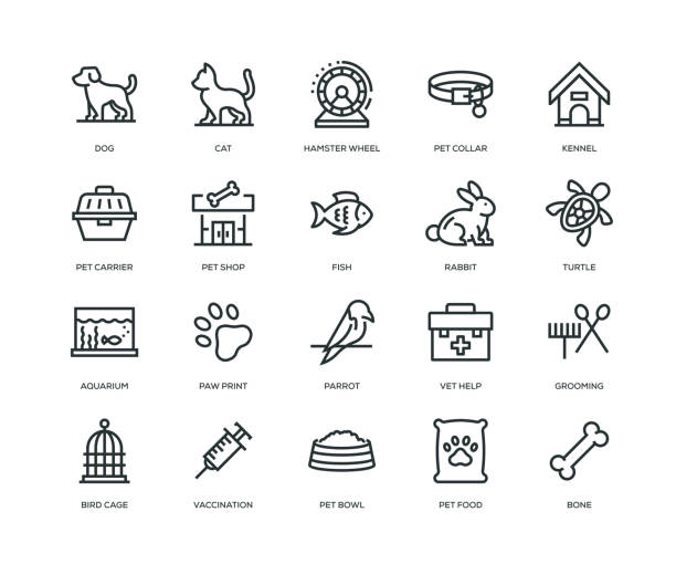pet icons - line series - pets stock illustrations, clip art, cartoons, & icons