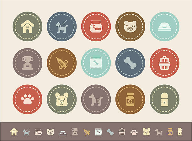 ilustrações de stock, clip art, desenhos animados e ícones de ícones de animais de estimação - lata comida gato