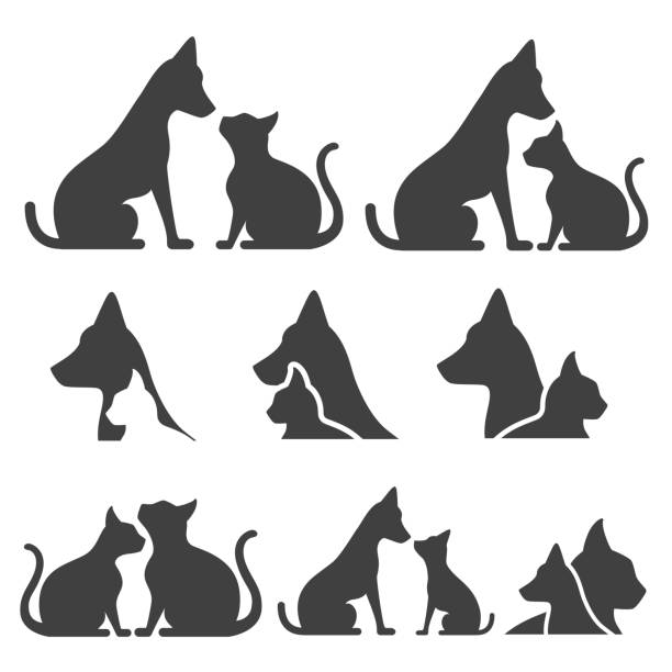 pet icons - cat stock illustrations, clip art, cartoons, & icons