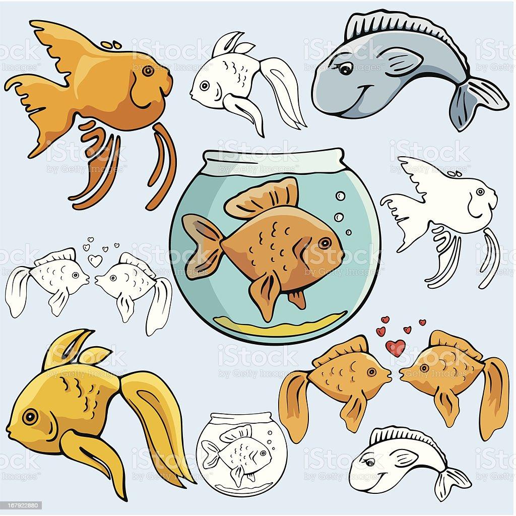 Pet Illustrations I : Goldfish (Vector) vector art illustration