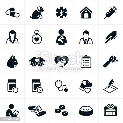 A set of icons representing the pet insurance or veterinary industry. The icons include vets, dogs, cats, medication, injury, illness and other pet health related icons.