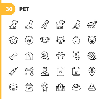 Pet Line Icons. Editable Stroke. Pixel Perfect. For Mobile and Web. Contains such icons as Dog, Cat, Parrot, Puppy, Bird, Tortoise, Kitten, Chick, Pig, Dog Bone, Hut, Vet, Dog Paw, Syringe, Vaccine, Bath, Shelter, Award, Food, Poop, Domestic Animal, Pet.