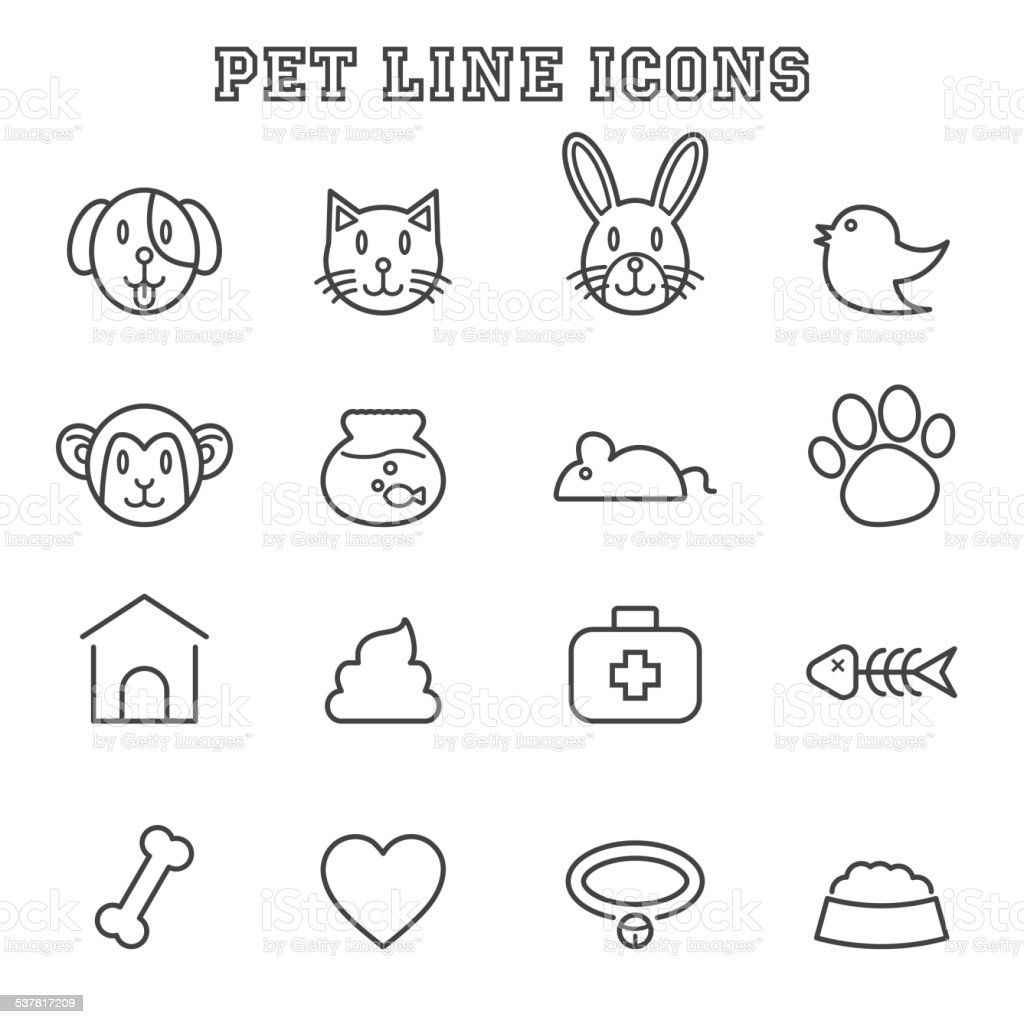 pet line icons vector art illustration