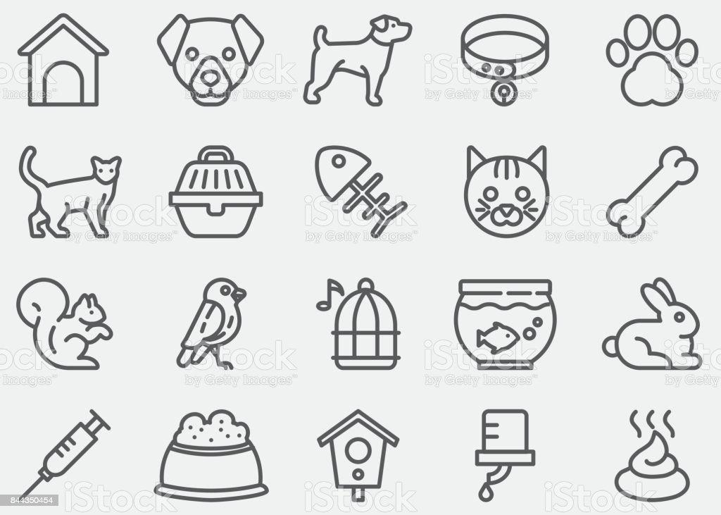 Iconos de la línea del animal doméstico - ilustración de arte vectorial