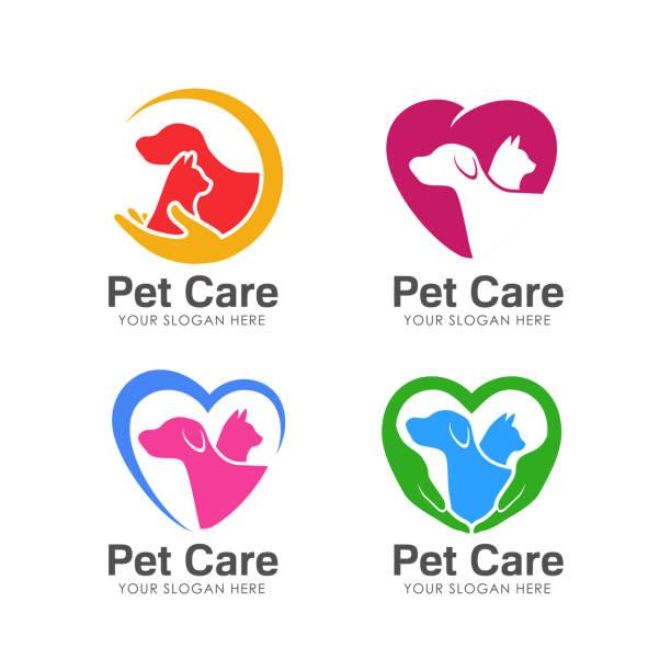 pet love symbols design. pet care symbols design - ratunek stock illustrations