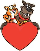 Two pets are pals.http://www.inktycoon.com/istocklb/sports-icon.jpg