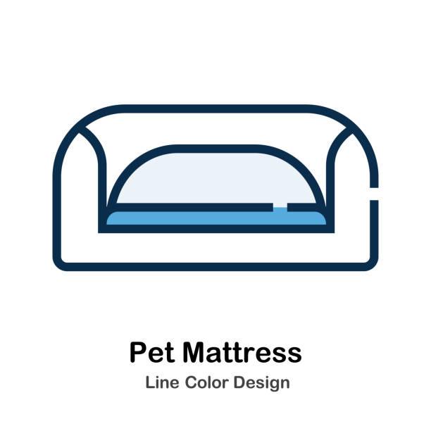 haustier matratze linie farbabbildungen - hundebetten stock-grafiken, -clipart, -cartoons und -symbole