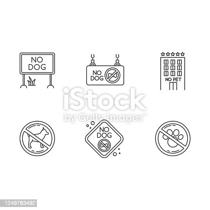istock Pet not allowed emblems pixel perfect linear icons set. Four-legged friends banned and welcome areas. Customizable thin line contour symbols. Isolated vector outline illustrations. Editable stroke 1249783492