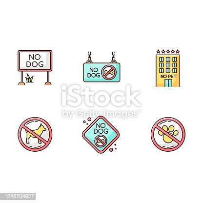 istock Pet not allowed emblems RGB color icons set. Four-legged friends banned territories, domestic animals prohibited entry zones. Cats and dogs welcome public places. Isolated vector illustrations 1248704627