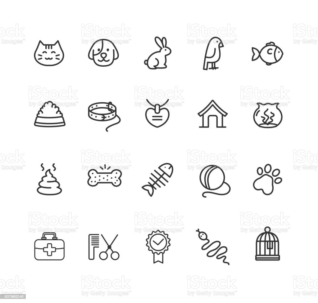 Pet Outline Icon Set. Vector vector art illustration