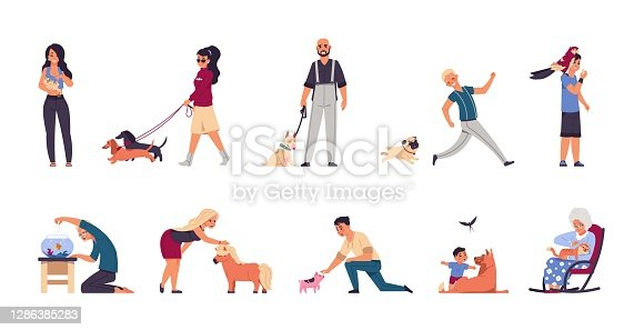 Pet owners. Cartoon man, woman and children playing or walking, spending time with domestic animals. People with cats, dogs and bird or aquarium fish. Little pony and pig, vector set