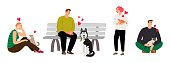 Pet owners. Cartoon people with dogs and cats. Single woman and man with pets vector set