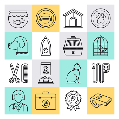 Pet Ownership & Social Support Outline Style Vector Icon Set