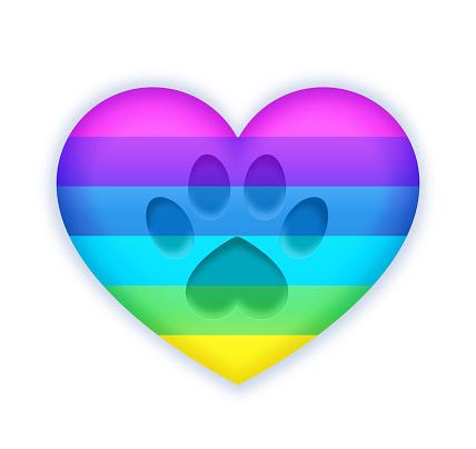 Pet Paw Print Rainbow Heart