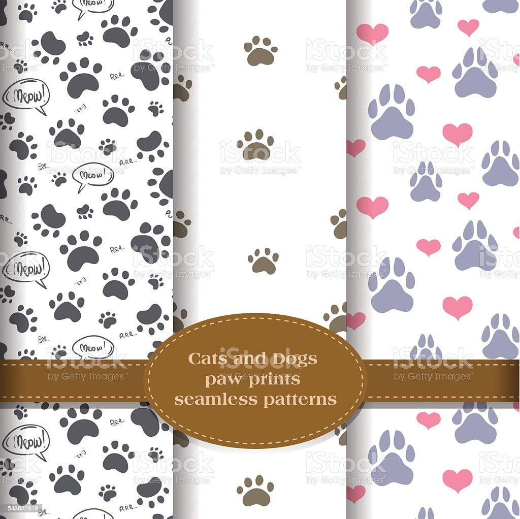 pet paw prints patterns set vector art illustration