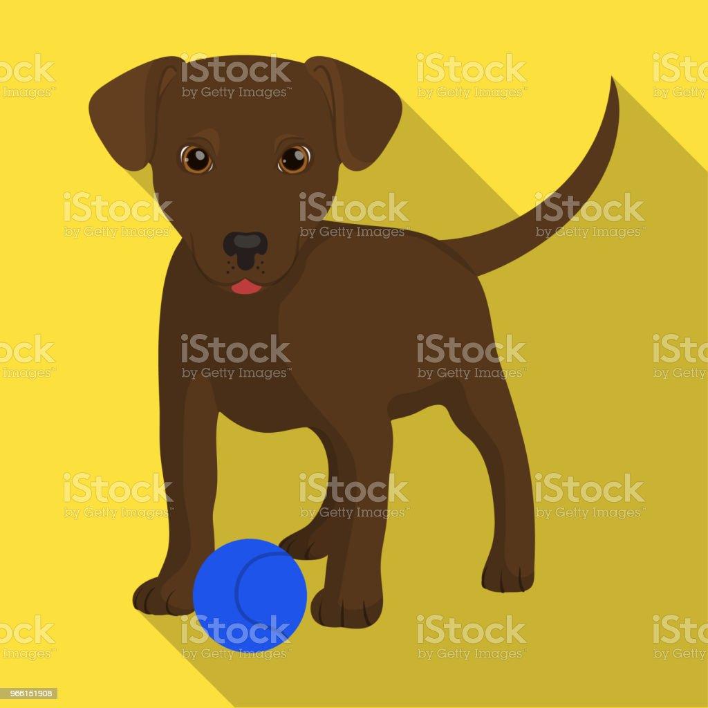 Sällskapsdjur, valp hund med en boll. Sällskapsdjur, hund vård enda ikon i platt stil vektor symbol stock illustration web. - Royaltyfri Djur vektorgrafik