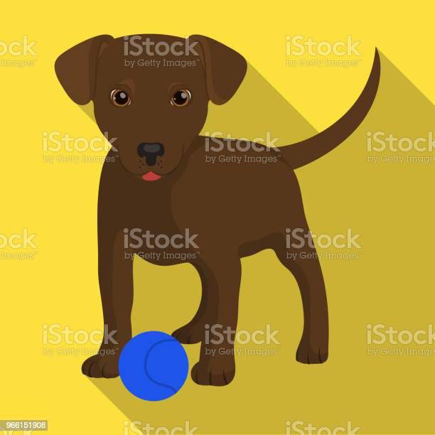 Sällskapsdjur Valp Hund Med En Boll Sällskapsdjur Hund Vård Enda Ikon I Platt Stil Vektor Symbol Stock Illustration Web-vektorgrafik och fler bilder på Djur