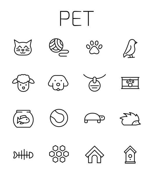ペット関連ベクトル アイコンを設定 - 魚の骨点のイラスト素材/クリップアート素材/マンガ素材/アイコン素材