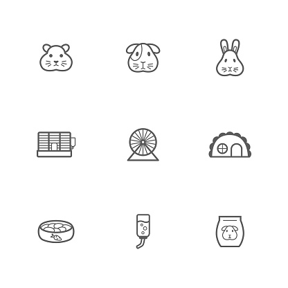 Pet rodent web icons set. Vector outline pet shop signs collection. Hamster, cavy and bunny accessories pack for online store