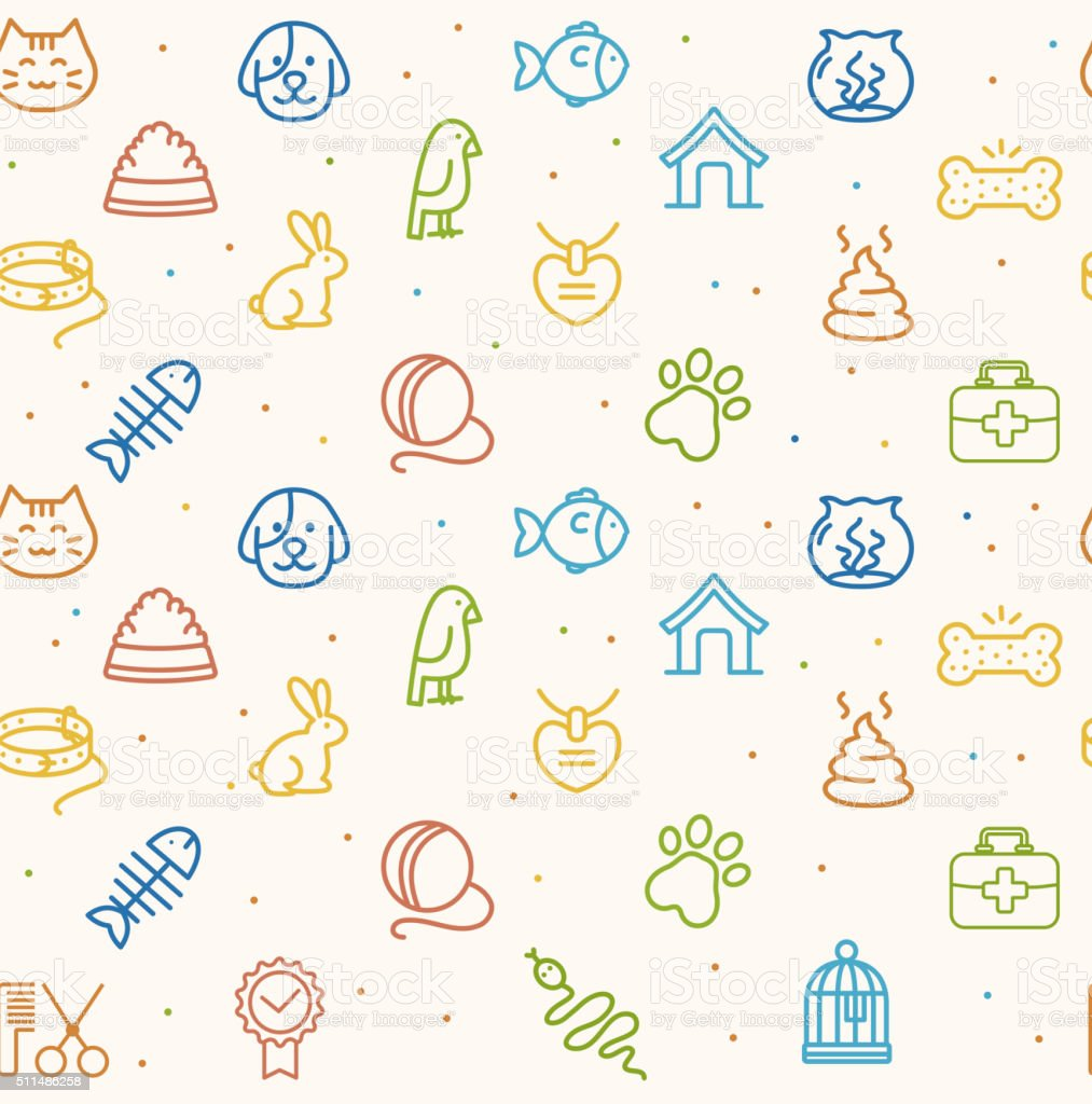 Pet Seamless Pattern. Vector vector art illustration