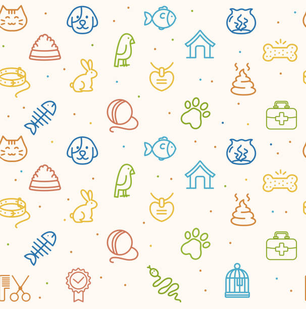 Pet Seamless Pattern. Vector Colorful Pet Seamless Pattern on a White Background. Vector illustration animal markings stock illustrations