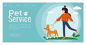 Vector illustration of young cute girl walking with a Basenji dog. Template for pet service, sitter, walker, vet clinic, pet care, hospital, dog shelter. Design for poster, banner, flyer, web, advert.
