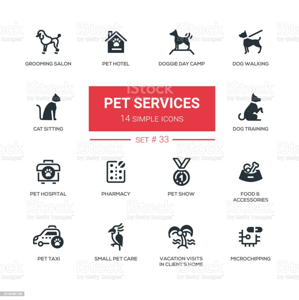 Pet Services - Modern simple thin line design icons, pictograms set vector art illustration