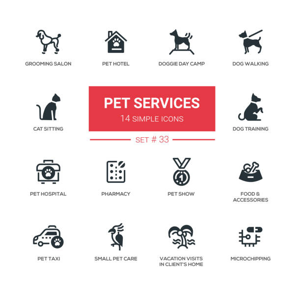 pet services - modern simple thin line design icons, pictograms set - pets stock illustrations, clip art, cartoons, & icons