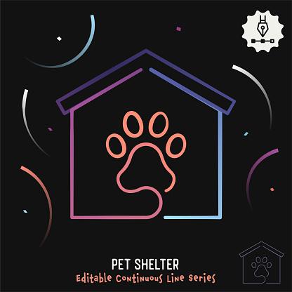 Pet Shelter Editable Line Illustration