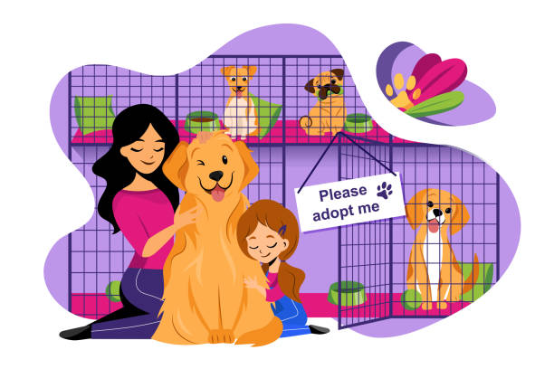 Pet shelter vector flat illustration. Adoption of homeless animals concept. Mom and daughter adopt cute dog from shelter Pet shelter vector flat illustration. Adoption of homeless animals concept. Mom and daughter adopt cute dog from shelter. animal shelter stock illustrations