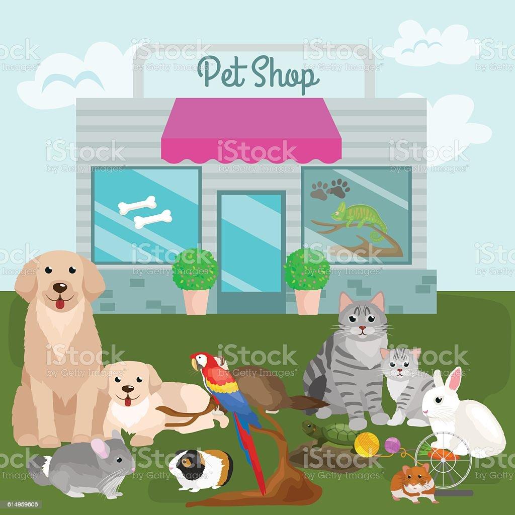 Pet shop, accessories and vet store. - ilustración de arte vectorial