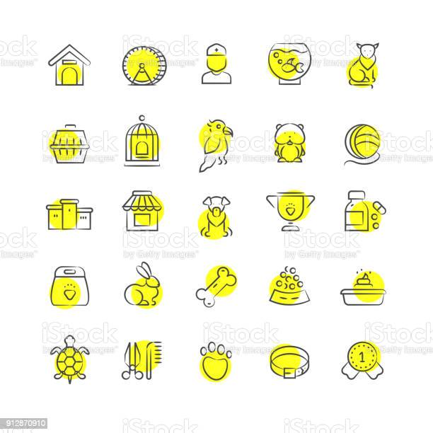 Pet shop animals and pets accessorises linear icons vector id912870910?b=1&k=6&m=912870910&s=612x612&h=he90yaumdmsx84hku9ljqywa6iovyboa9qhp5ezmaj8=