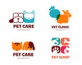 Pet shop, animals veterinary clinic, dog and cat icons, symbols. Vector design and illustration