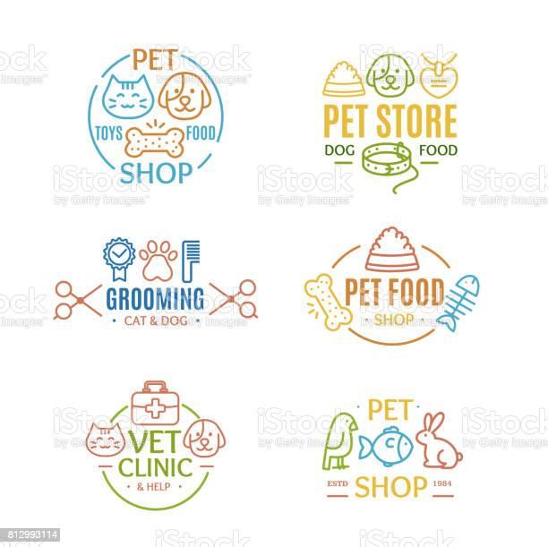 Pet shop badges or labels color line art set vector vector id812993114?b=1&k=6&m=812993114&s=612x612&h=0p1zhfara kz7z3bxd7 gy5ctuzdtt47lllbtg9o6fy=