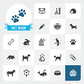 Pet Shop base vector icons and label