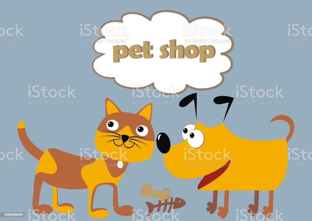 ペット ショップ猫犬面白いイラスト アイコンのベクターアート素材や