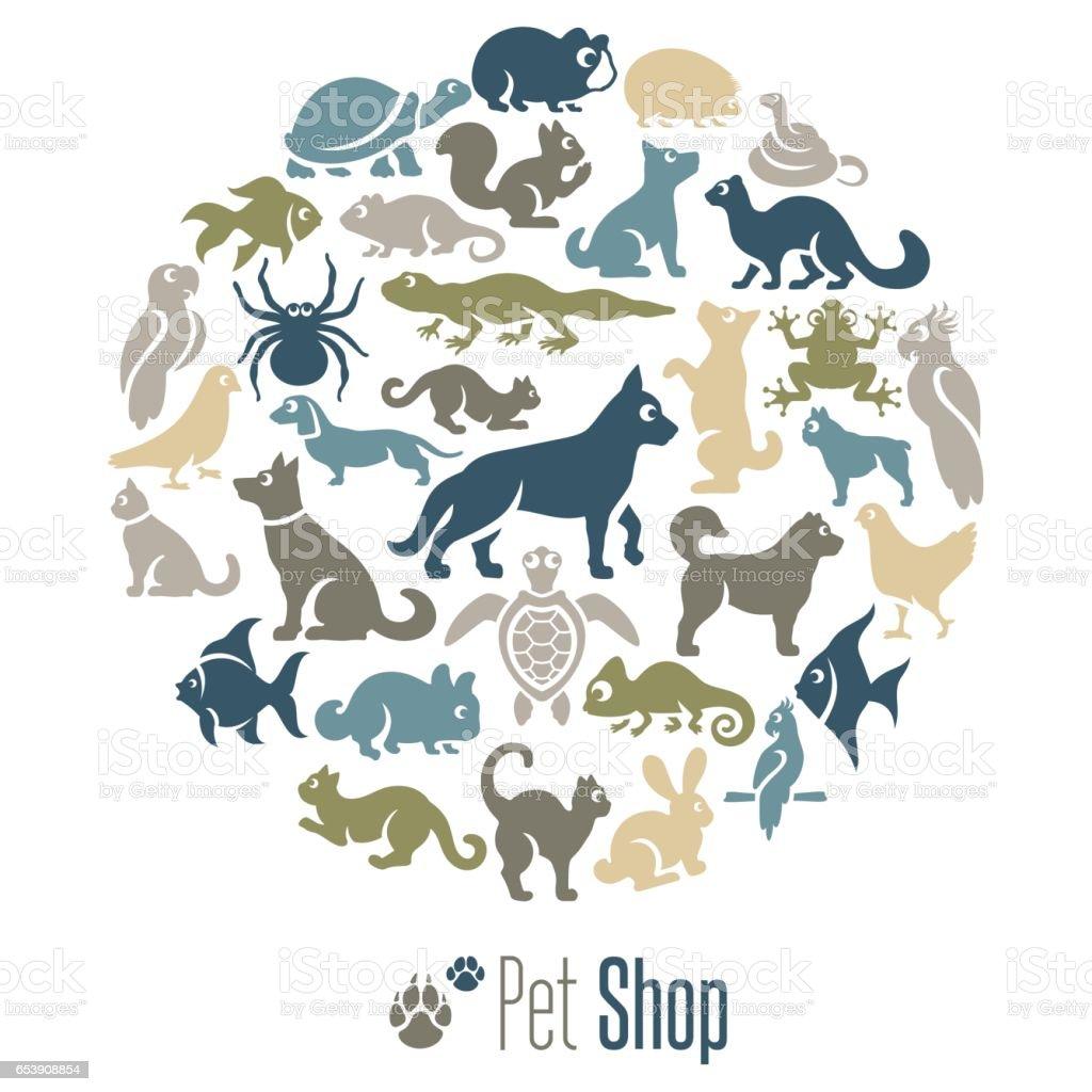 Collage de la tienda de mascotas - ilustración de arte vectorial