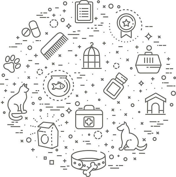 pet shop concept illustration,line design vector template vector art illustration