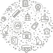 pet shop concept illustration,line design vector template