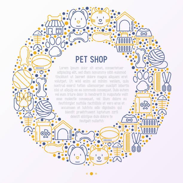細い線アイコンの円でペット ショップ コンセプト: 猫、犬、首輪、犬小屋、グルーミング、フード、おもちゃ。現代ベクトル図では、web ページのテンプレート。 - 魚の骨点のイラスト素材/クリップアート素材/マンガ素材/アイコン素材