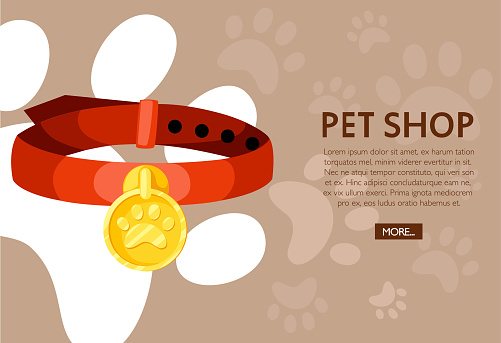 Pet shop concept. Red pet collar. Vector illustration on background with animal footprints. Place for your text. Website page and mobile app design
