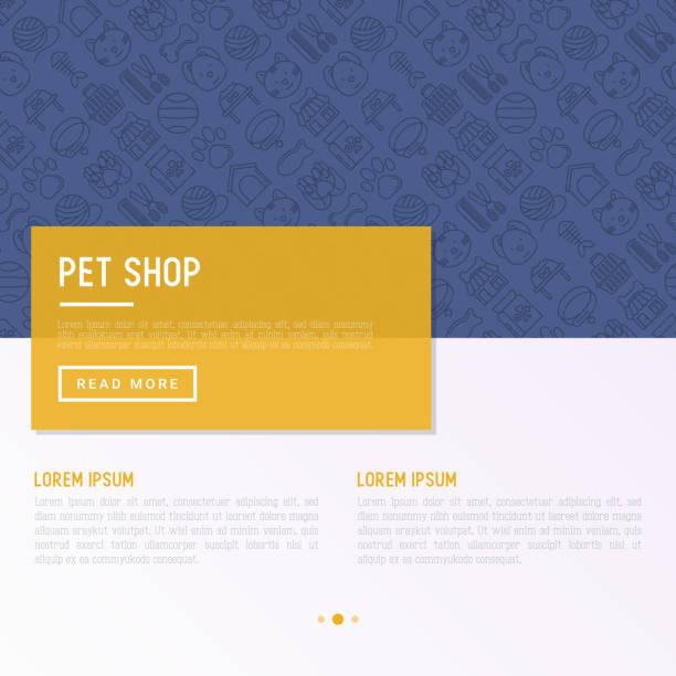 細い線のアイコンとペット ショップ コンセプト: 猫、犬、首輪、犬小屋、グルーミング、フード、おもちゃ。現代ベクトル図では、web ページのテンプレート。 - ペットショップ点のイラスト素材/クリップアート素材/マンガ素材/アイコン素材