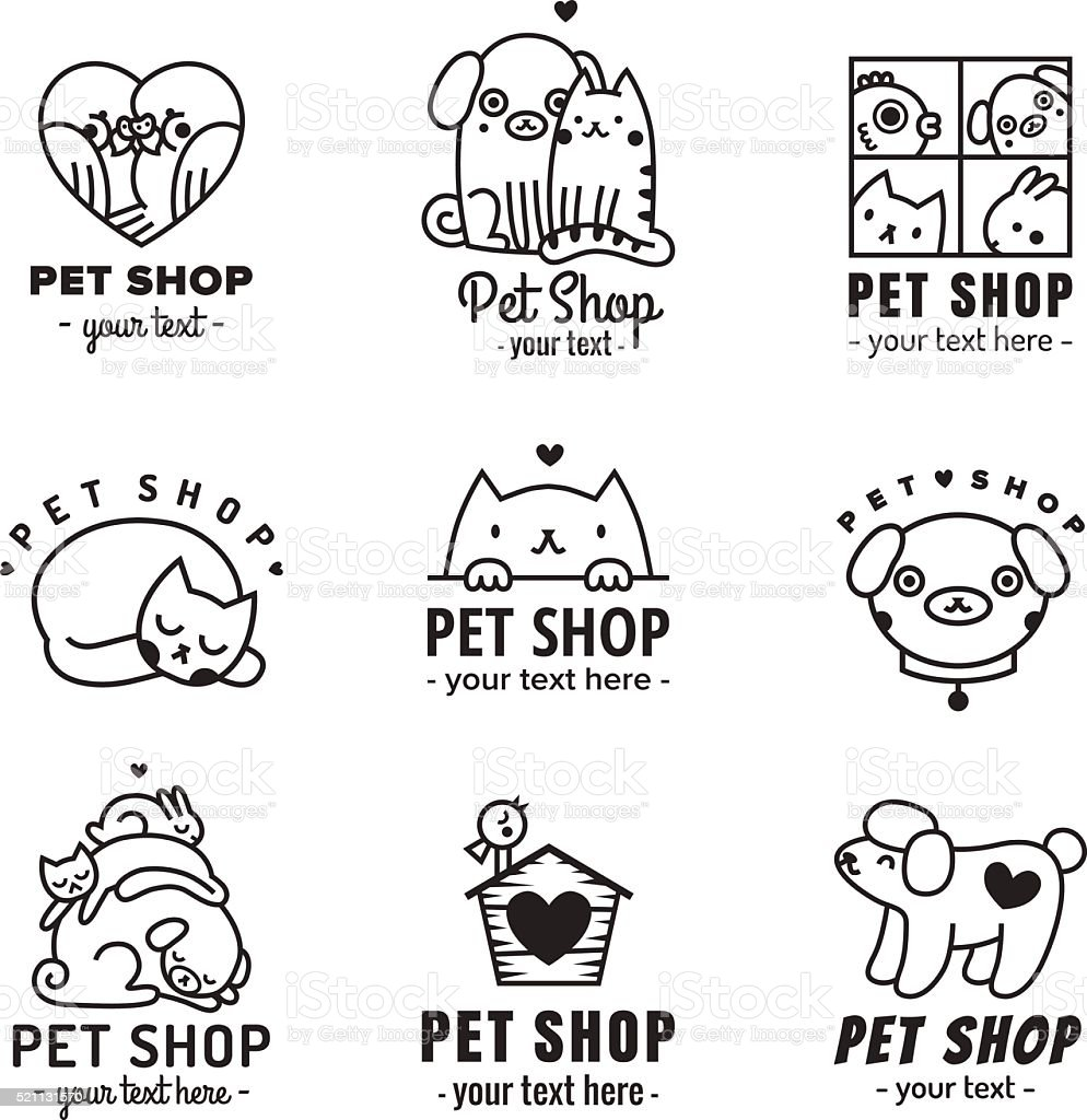 pet shop cute logos black vector set stock vector art