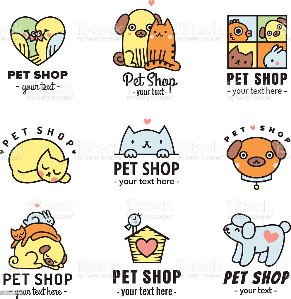 Pet shop cute logos (stickers) black vector set. vector art illustration