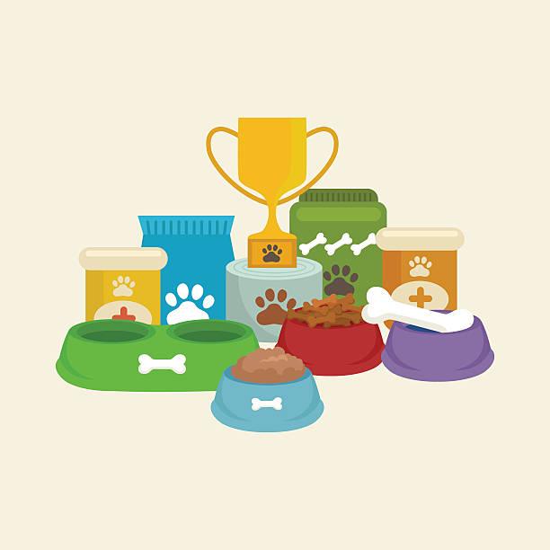 ilustrações de stock, clip art, desenhos animados e ícones de loja de animais de estimação, cão bens e materiais, armazenar os produtos para cuidados de saúde - dog food