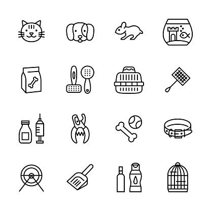 Pet shop flat line icon set.