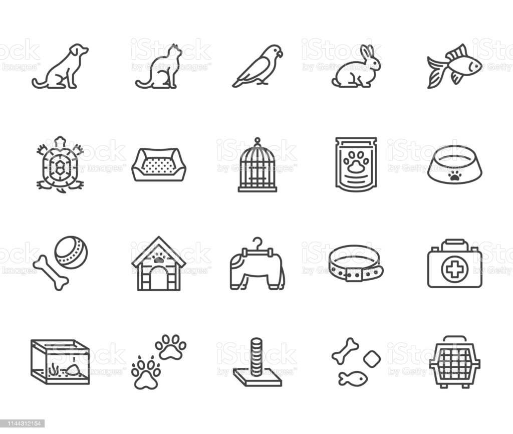 Pet shop flat line icons set. Dog carrier, cat scratcher, bird cage,...