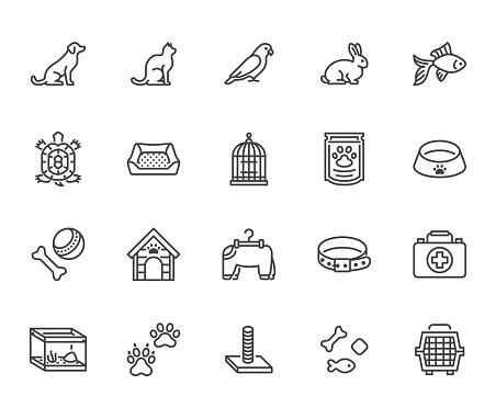 Pet shop flat line icons set. Dog carrier, cat scratcher, bird cage, rabbit, fish aquarium, pets paw, collar vector illustrations. Thin signs for veterinary. Pixel perfect 64x64. Editable Strokes