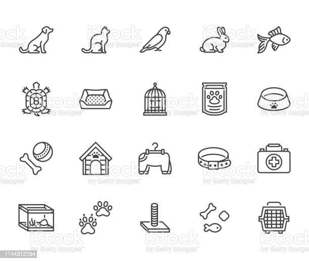 Pet shop flat line icons set dog carrier cat scratcher bird cage vector id1144312154?b=1&k=6&m=1144312154&s=612x612&h=kyjqk0cfqtsdiba6z75ldnkcuyunelrj nfpmpnlqmu=
