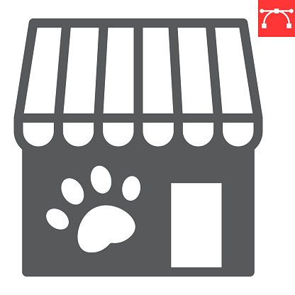 Pet shop glyph icon, building and market, pet store vector icon, vector graphics, editable stroke solid sign, eps 10.